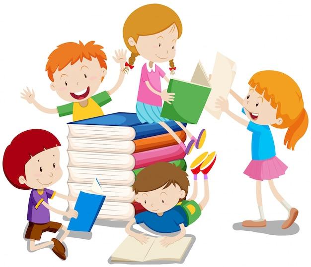 Ilustração de livros de leitura de meninos e meninas