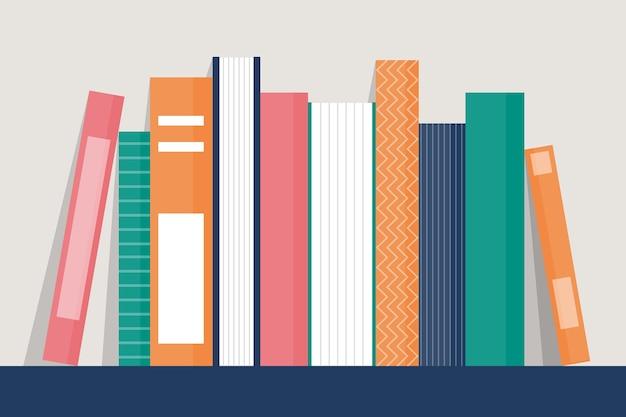 Ilustração de livros na estante