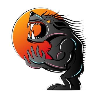 Ilustração de lobisomem assustador ou lobisomem animal mascote