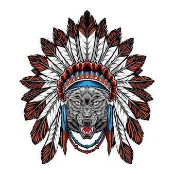 Ilustração de lobo com cocar indiano