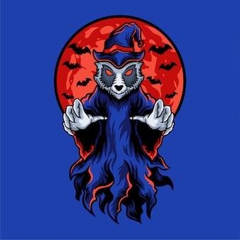 Ilustração de lobo do dia das bruxas