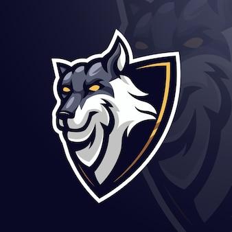 Ilustração de lobo em escudo para equipe esport