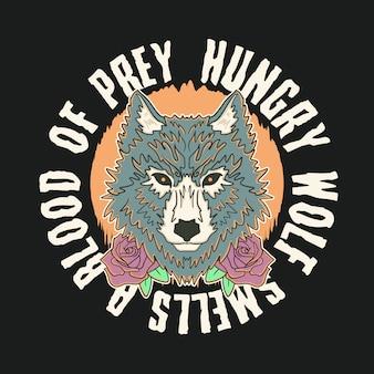 Ilustração de lobo faminto vintage premium