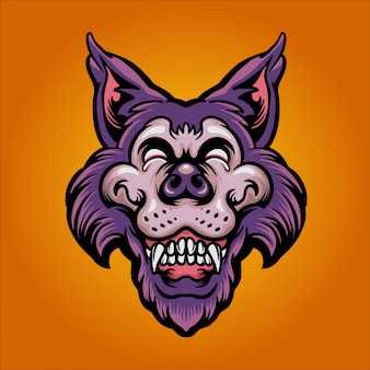 Ilustração de lobo feliz