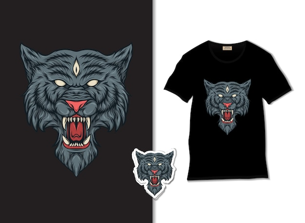 Ilustração de lobo irritado