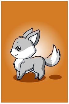 Ilustração de lobo pequeno bebê fofo