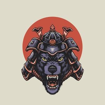 Ilustração de lobo samurai zangado