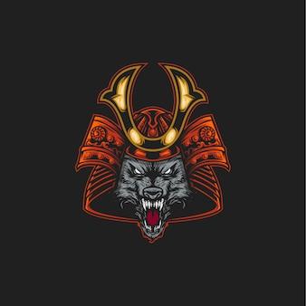 Ilustração de lobo samurai