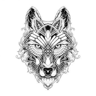 Ilustração de lobo, tatuagem e design de tshirt