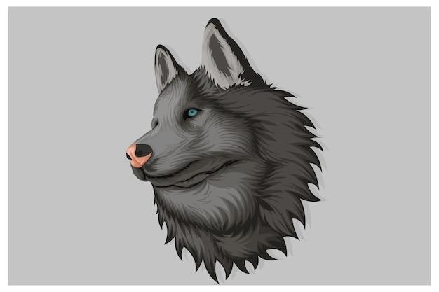 Ilustração de lobo voltado para o lado em estilo realista