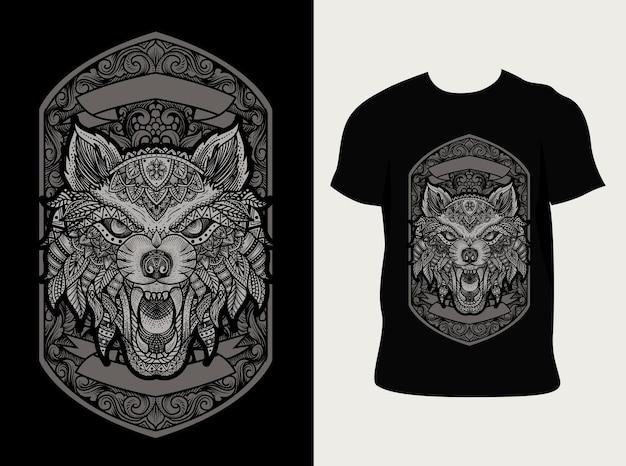 Ilustração de lobo zangado com estilo de ornamento