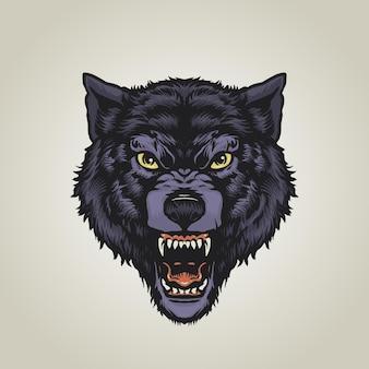 Ilustração de lobo zangado