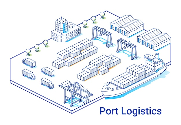 Ilustração de logística portuária em estilo isométrico linear. linha de arte mínima. conceito com navio, contêineres, guindastes e outros edifícios.