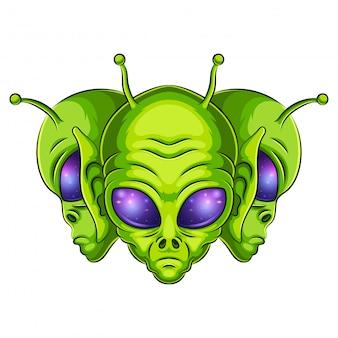 Ilustração de logotipo alienígena mascote
