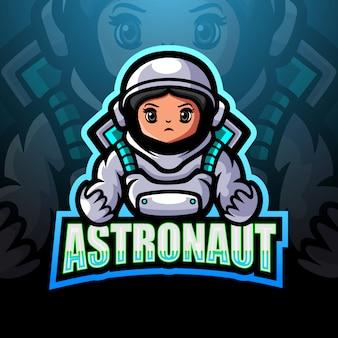Ilustração de logotipo astronauta mascote esport