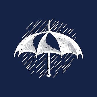 Ilustração de logotipo clássico guarda-chuva