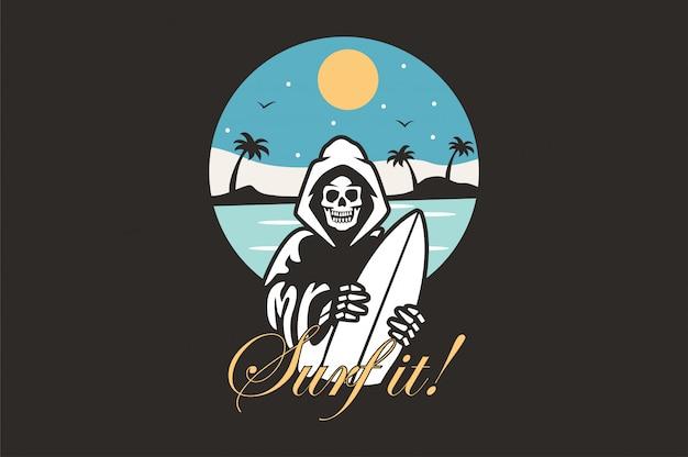 Ilustração de logotipo com surfista de esqueleto