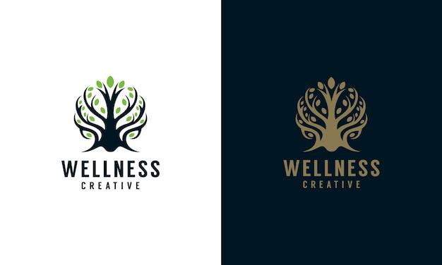 Ilustração de logotipo de árvore elegante bem-estar