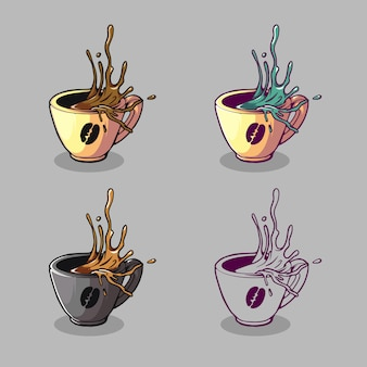 Ilustração de logotipo de copo de café