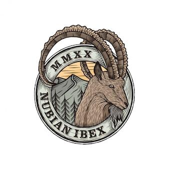 Ilustração de logotipo de crachá de cabra nubian ibex
