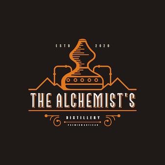 Ilustração de logotipo de destilaria, vintage, marca premium