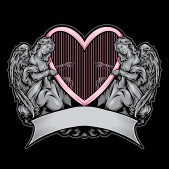 Ilustração de logotipo de estátua de anjo