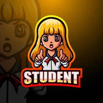 Ilustração de logotipo de mascote de aluna