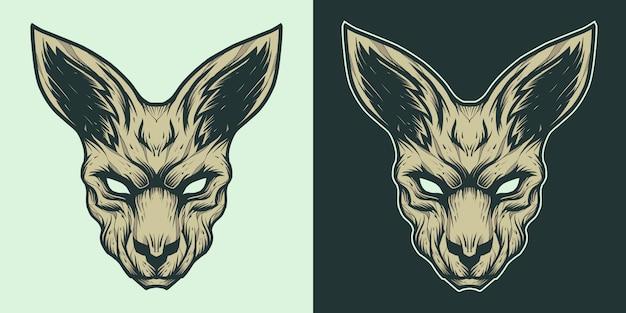 Ilustração de logotipo de mascote de cabeça de canguru