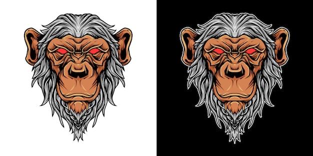 Ilustração de logotipo de mascote de cabeça de chimpanzé