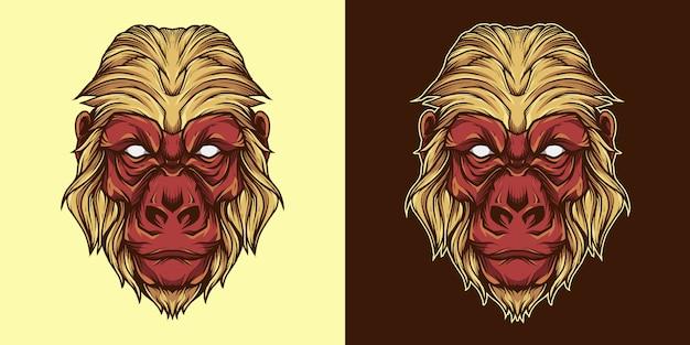 Ilustração de logotipo de mascote de cabeça de gorila