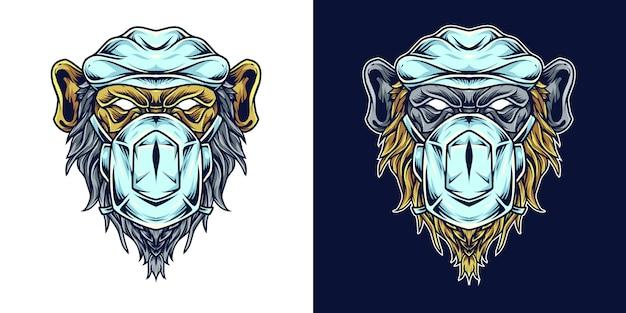 Ilustração de logotipo de mascote de cabeça de médico de chimpanzé
