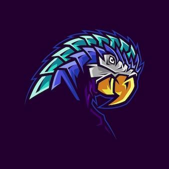 Ilustração de logotipo de mascote de cabeça de papagaio