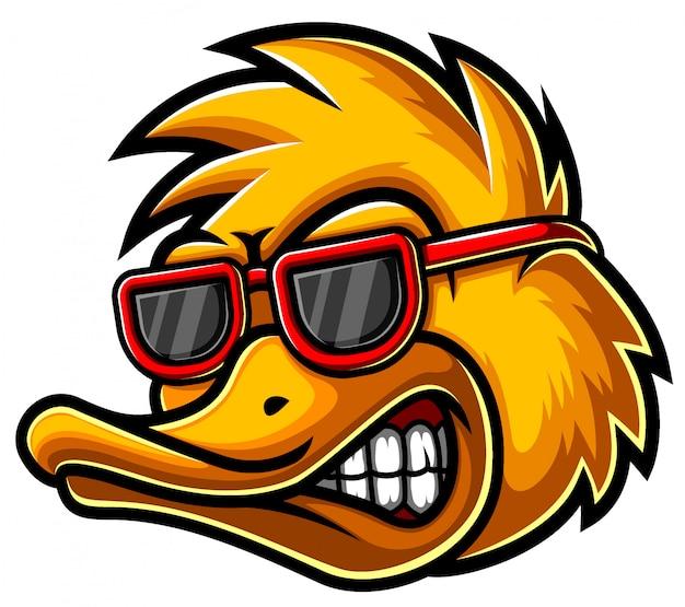 Ilustração de logotipo de mascote de cabeça de pato