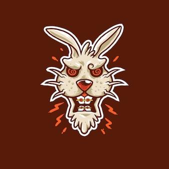 Ilustração de logotipo de mascote de coelho com raiva
