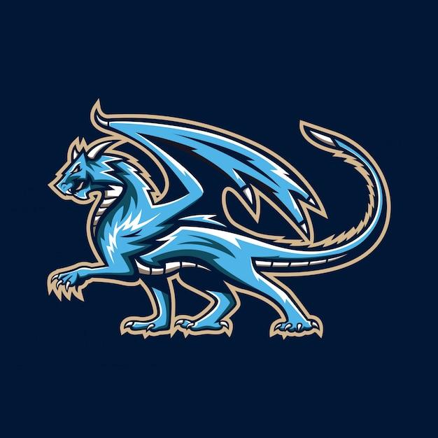 Ilustração de logotipo de mascote de dragão