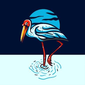 Ilustração de logotipo de mascote de garça