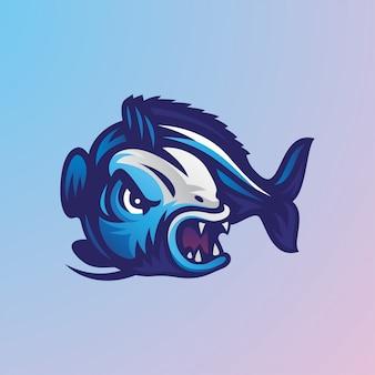 Ilustração de logotipo de mascote de peixe