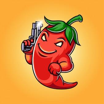 Ilustração de logotipo de mascote de pimenta