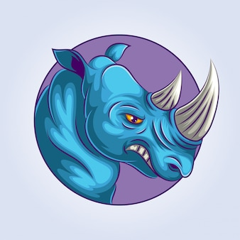 Ilustração de logotipo de mascote de rinoceronte