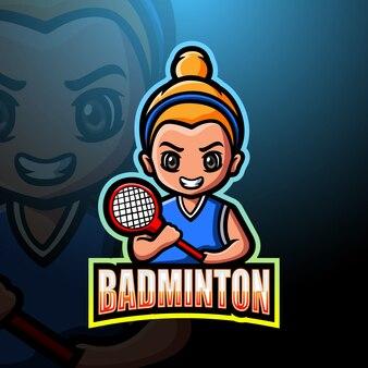 Ilustração de logotipo de mascote esport de badminton