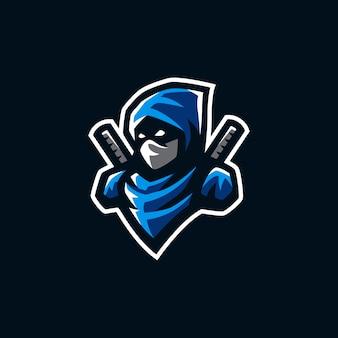 Ilustração de logotipo de mascote ninja