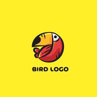 Ilustração de logotipo de pássaro com fundo amarelo
