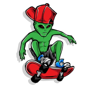 Ilustração de logotipo de skatista alienígena