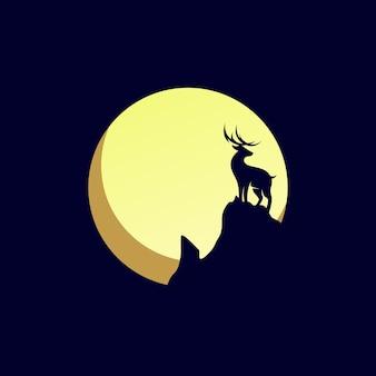 Ilustração de logotipo de veado da lua