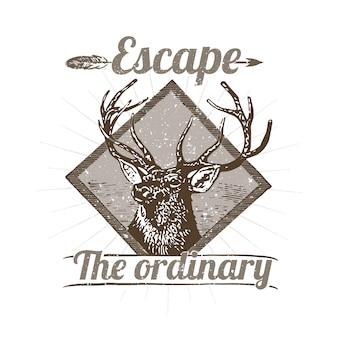 Ilustração de logotipo de veado selvagem