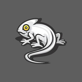 Ilustração de logotipo de vetor de camaleão branco
