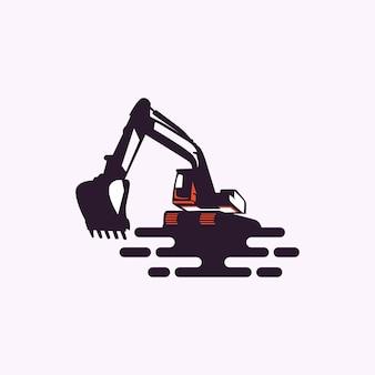 Ilustração de logotipo de vetor de escavadeira