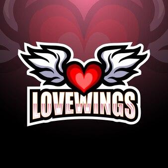Ilustração de logotipo esport asas de anjo