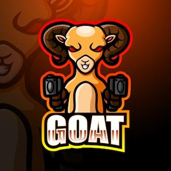 Ilustração de logotipo esport cabra artilheiro mascote