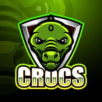 Ilustração de logotipo esport jacaré cabeça mascote